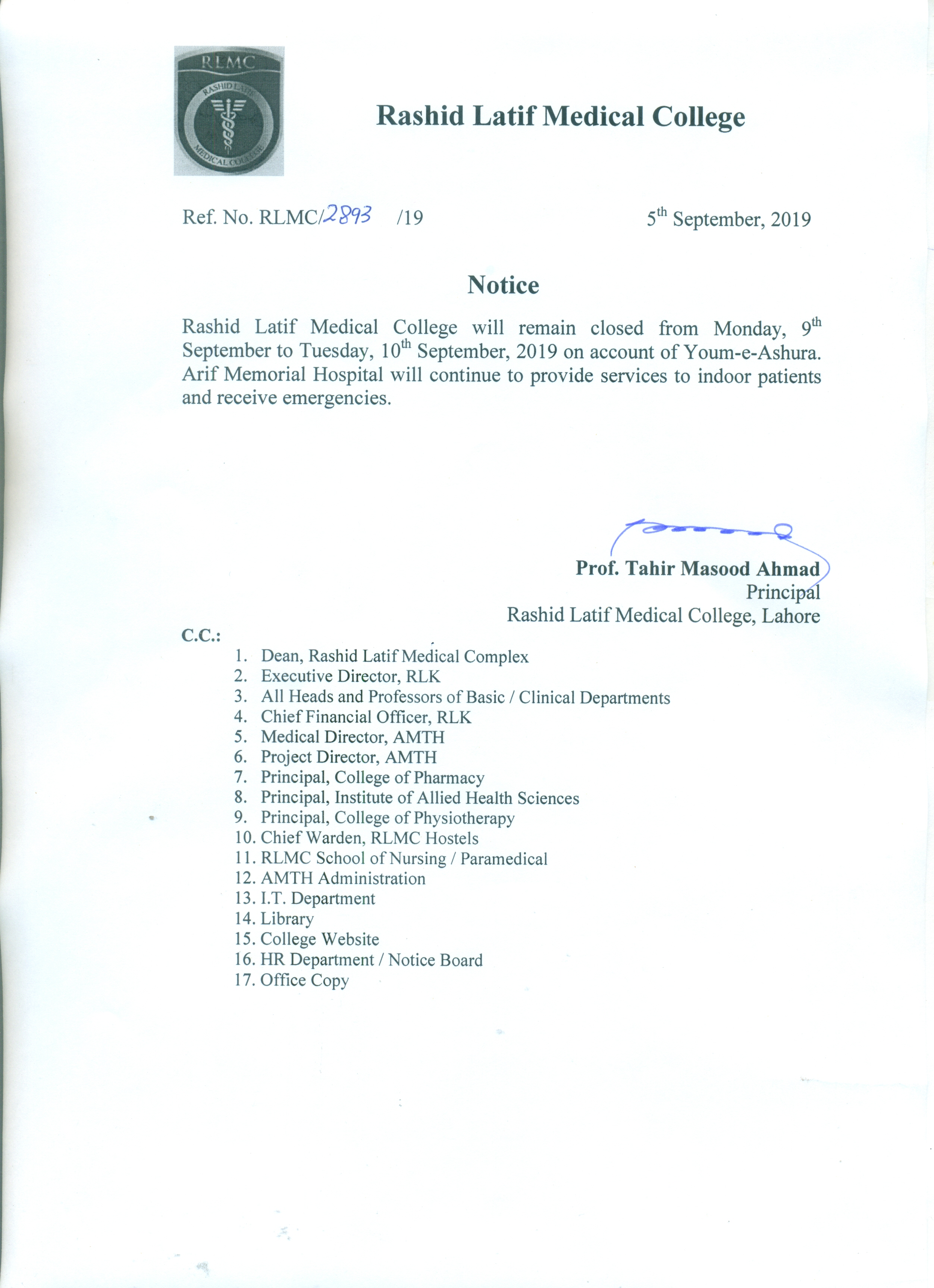 RLMC-Rashid Latif Medical College